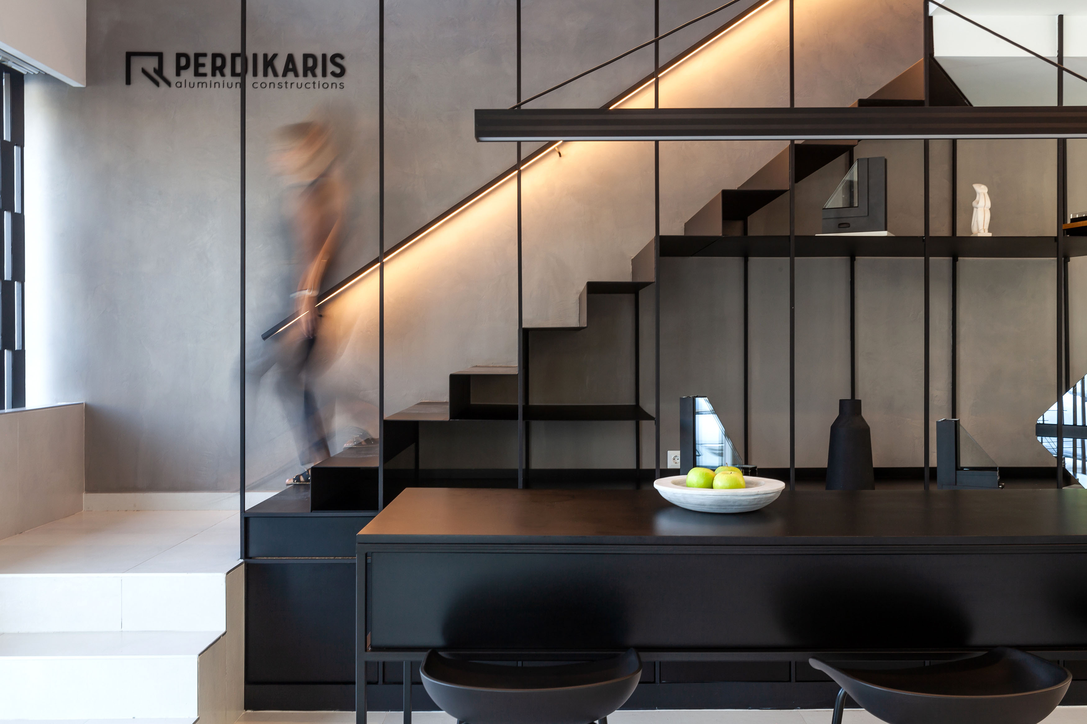staircase and bookcase in one design