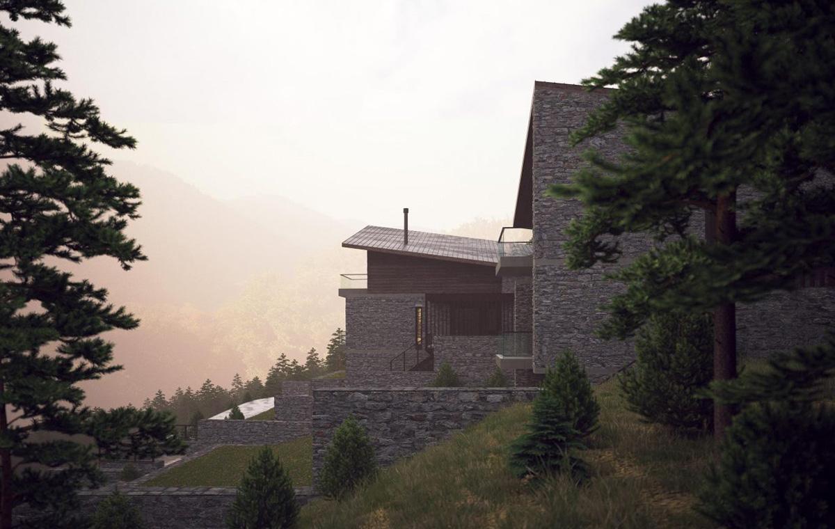 mountain villa landscape forest βίλα βουνό
