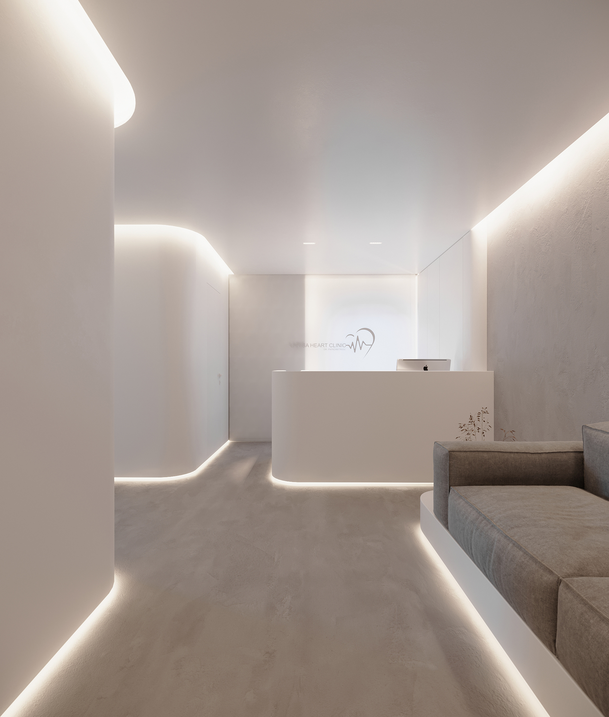 front desk design total white minimal concept