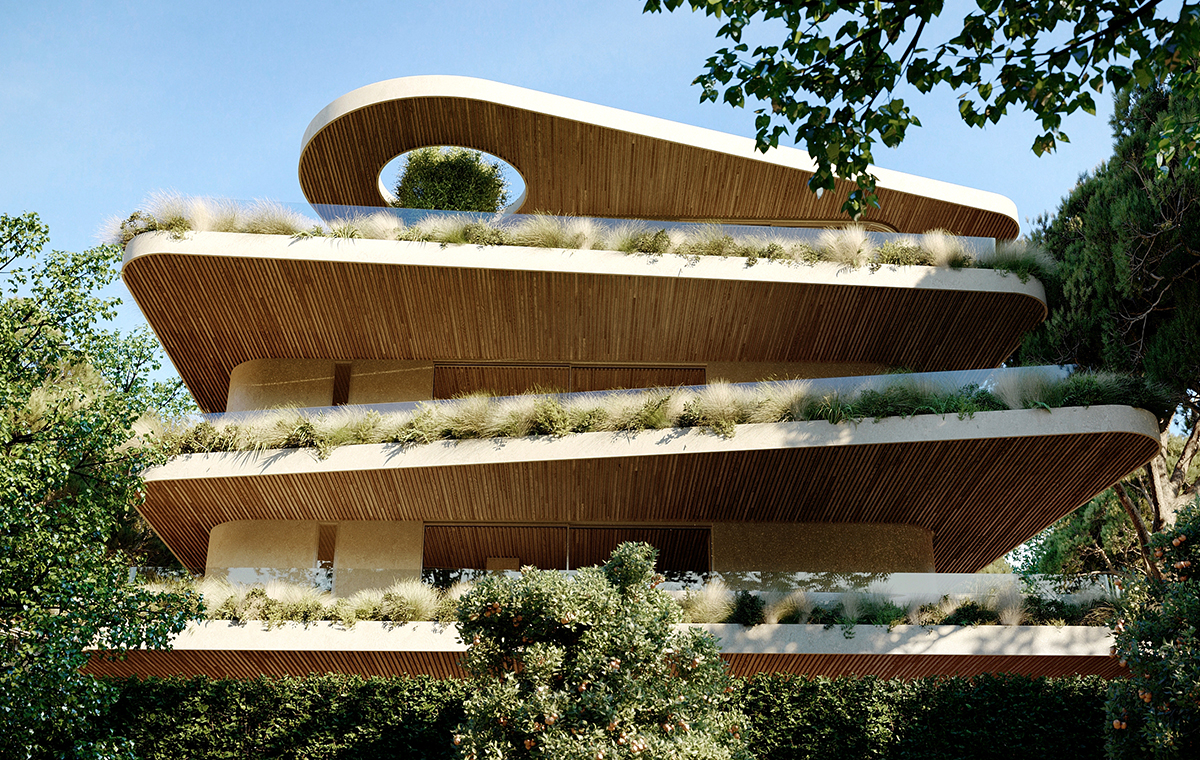 Contemporary apartments green balconies plants Kifisia new building